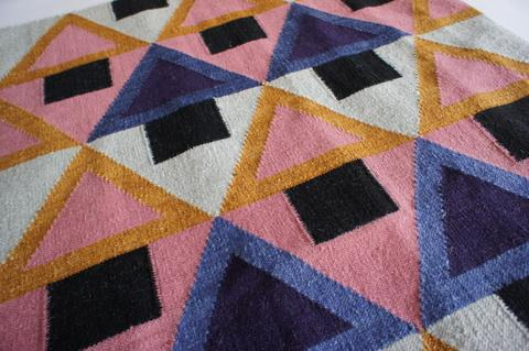 Morgan flatweave rug in geometric prints designed by Aelfie