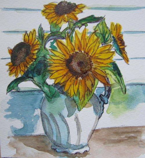 Original Sunflower Watercolour Study by Gina  Rahman 46 Votes