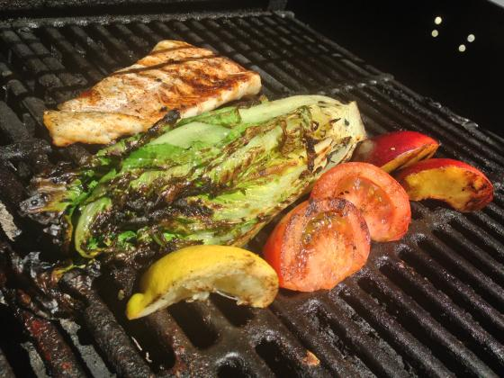Grilled Romaine Salad with Cucumber Radish Tumble and Cajun Spiced Cod