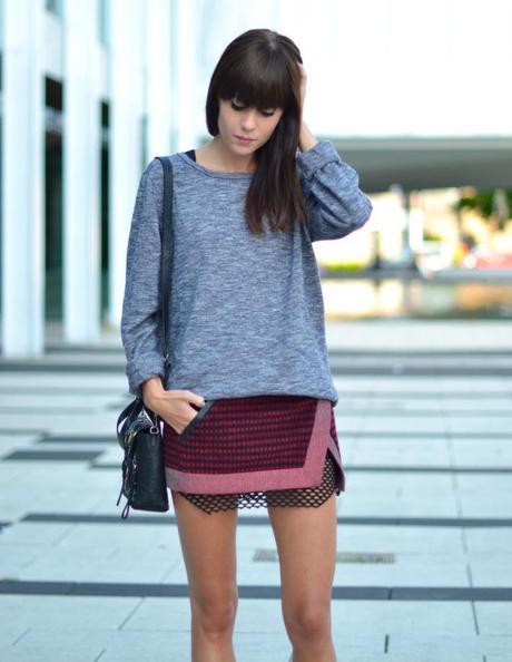 outfit mini wrap skirt boyfriend sweater