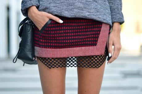 three floor wrap skirt with isabel marant fishnet