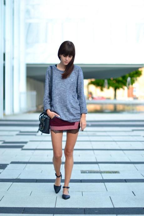 red mini skirt look fishnet dress
