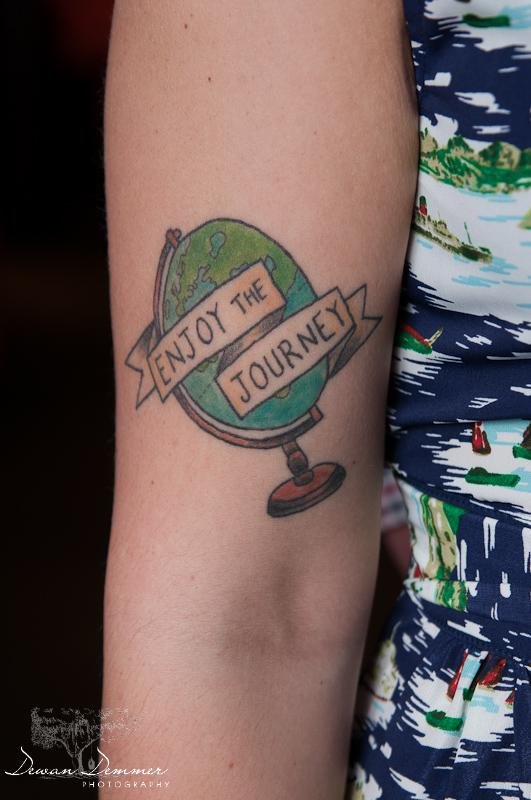 Amy's tattoo and its so true at the engagement Photoshoot  in London by Dewan Demmer Photography