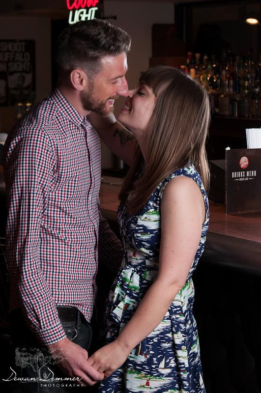 A kiss at the engagement Photoshoot  in London by Dewan Demmer Photography