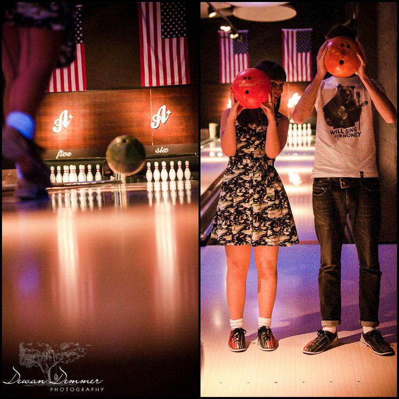 All Star Lane Ten Pin Alley at the engagement Photoshoot  in London by Dewan Demmer Photography