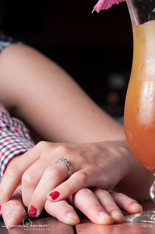 A Ring and Drink at the engagement Photoshoot  in London by Dewan Demmer Photography