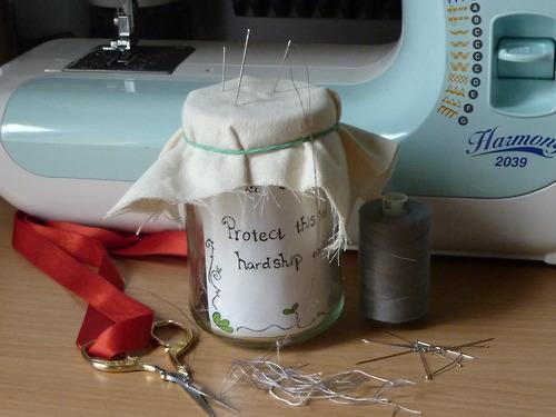 "Just a little charm for designers and sewing enthusiast: Keep a jar by your sewing machine or work space and each time you cut a thread, put the excess piece in the jar, with a poetic phrase such as ""make this collection a success, and gain lots of press"