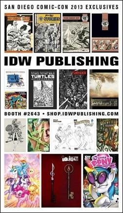 IDW Publishing SDCC 2013 Exclusive Promos Sheet