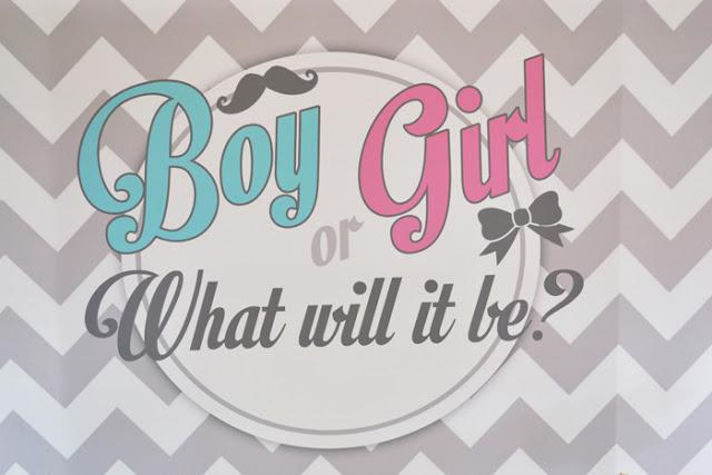 Pink And Blue Chevron Themed Gender Reveal Baby Shower By