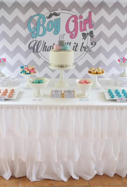 Pink and Blue Chevron themed Gender Reveal Baby Shower by Sugar Sweet Buffets