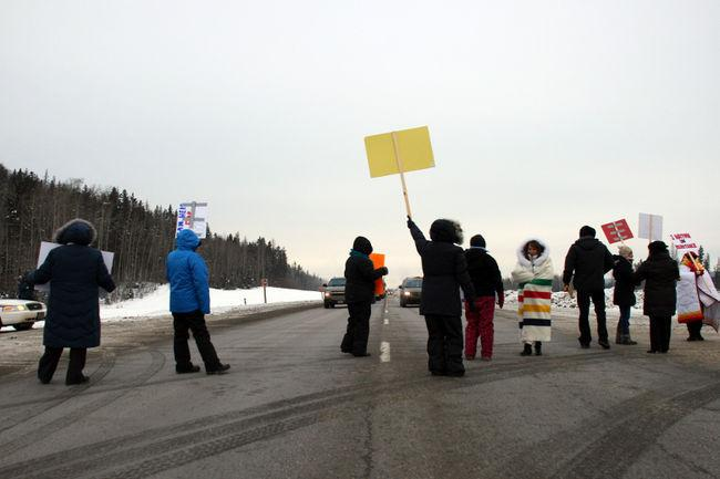 Protesters with the Idle No More movement block traffic on Highway 63 in early January. Vincent McDermott/Today Staff