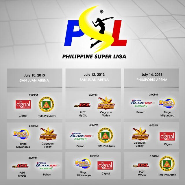 Philippine Super Liga 2013 Schedule July 10, 12 and 14, 2013
