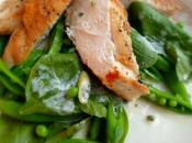Crispy Chicken, Sugar Snaps Spinach Salad
