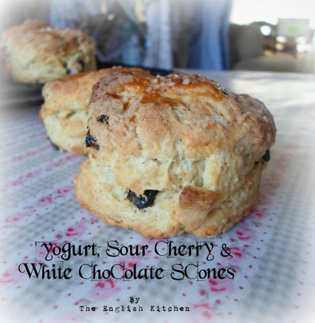 White Chocolate & Sour Cherry Scones Recipe — Dishmaps