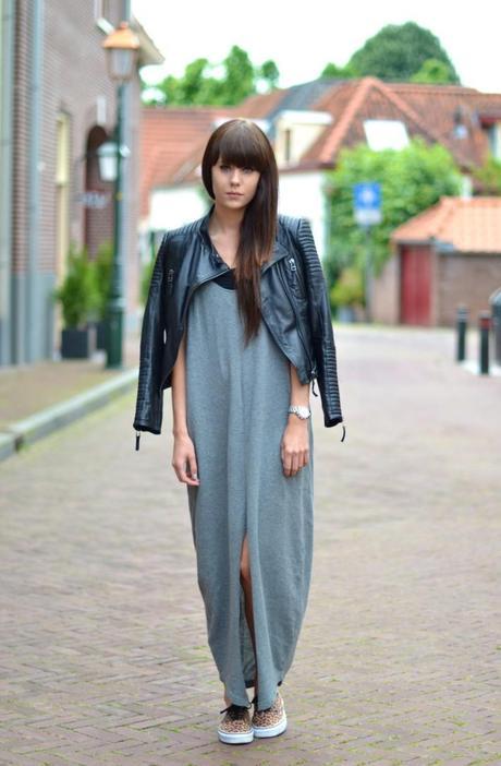 long gray maxi dress w leather jacket