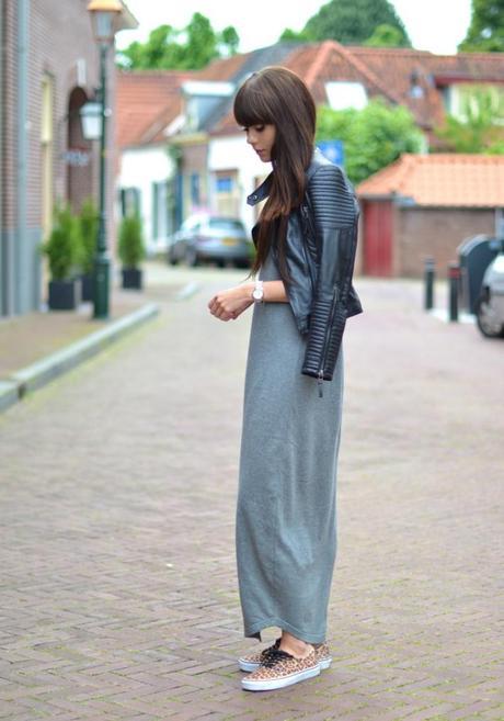 maxi dress vans leather jacket look