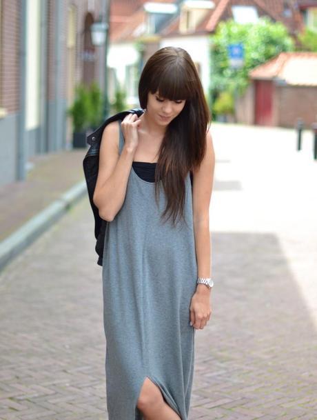 knitted gray maxi dress samsoe samsoe