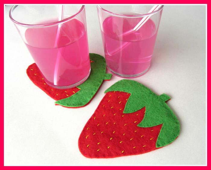 Felt Strawberry Coaster Tutorial With Downloadable Template