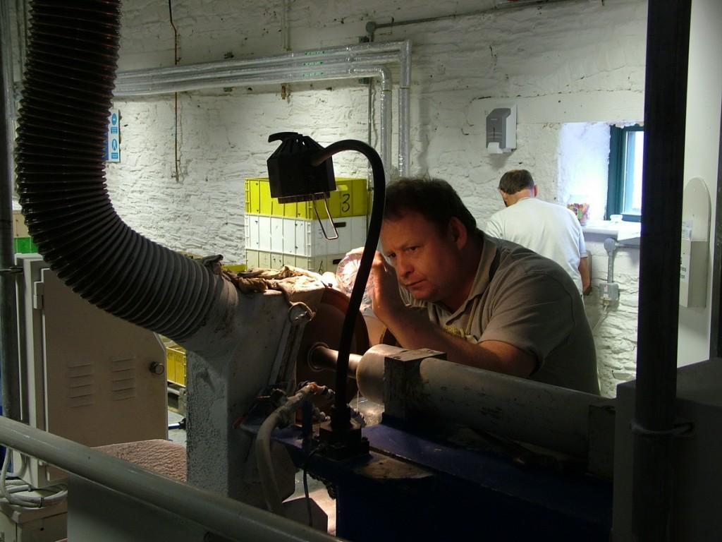 cutting a crystal glass - waterford crystal - ireland