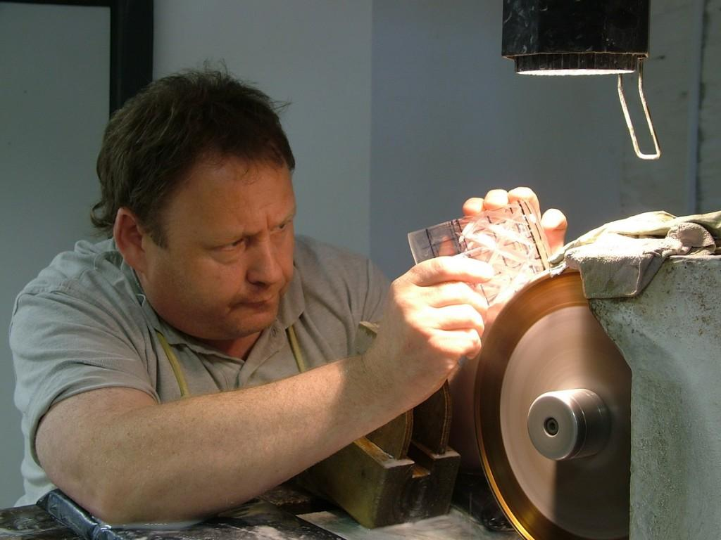cutting a pattern on a crystal glass - waterford crystal - ireland