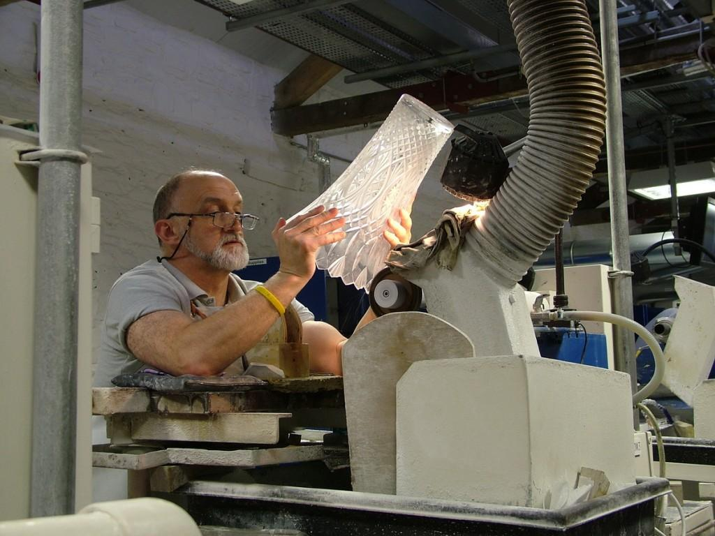 checking a cutting on a vase - waterford crystal plant - ireland