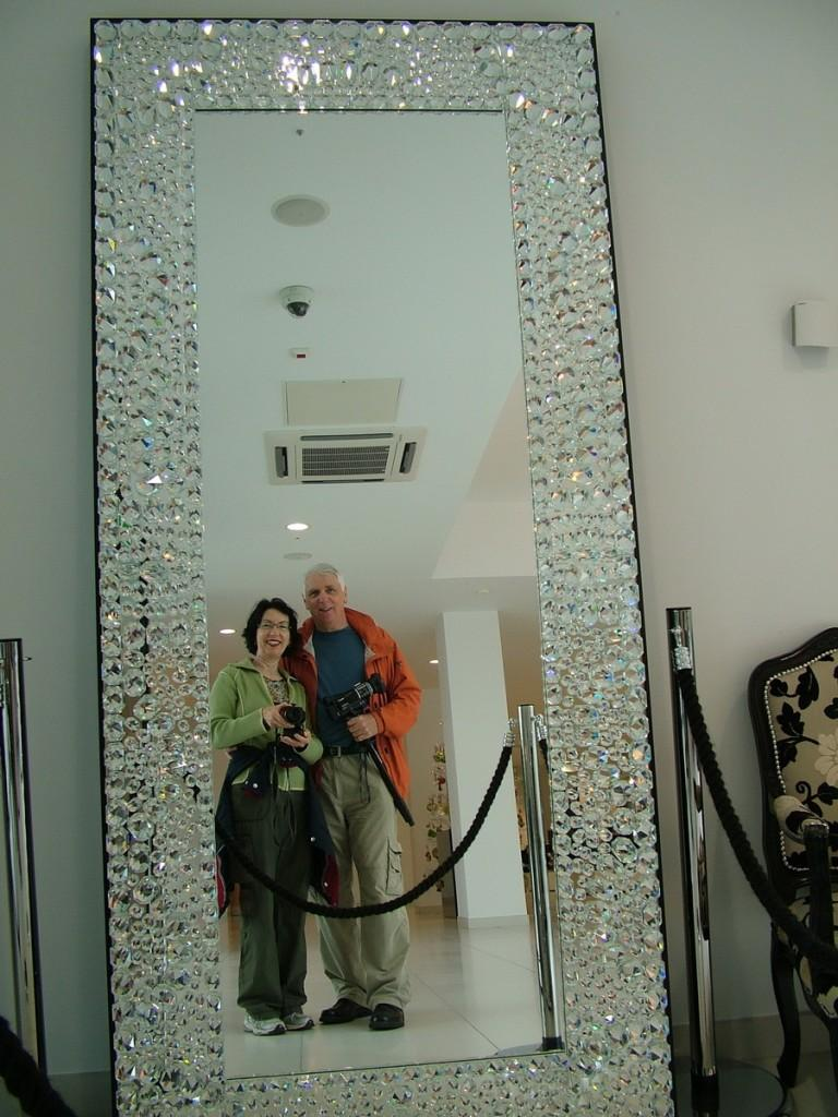 jean and bob reflection in waterford crystal mirror - waterford - ireland