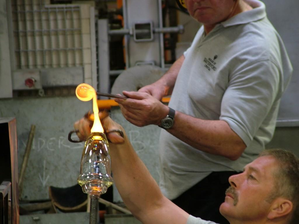 glass blowers work base of crystal vase - house of waterford crystal - waterford - ireland