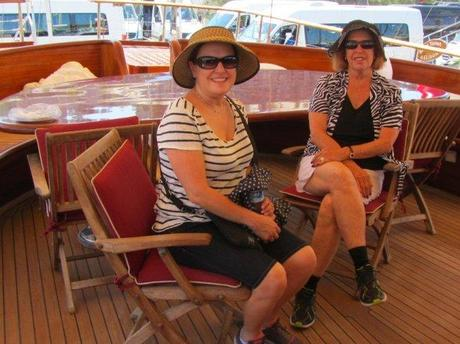Debbie and Phyllis on a yacht in the marina