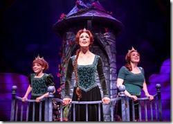 """Princess Fiona awaits her knight in shining armor from her tower, as portrayed by Caroline Heffernan as Young Fiona, Summer Smart as Princess Fiona, and Rebecca Pink as Teen Fiona in the song """"I Know It's Today"""" in Chicago Shakespeare Theater's production of Shrek The Musical, staged and choreographed by Rachel Rockwell. (photo credit: Liz Lauren)"""