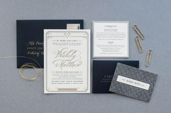 Post image for Black and Gold Wedding Invitation