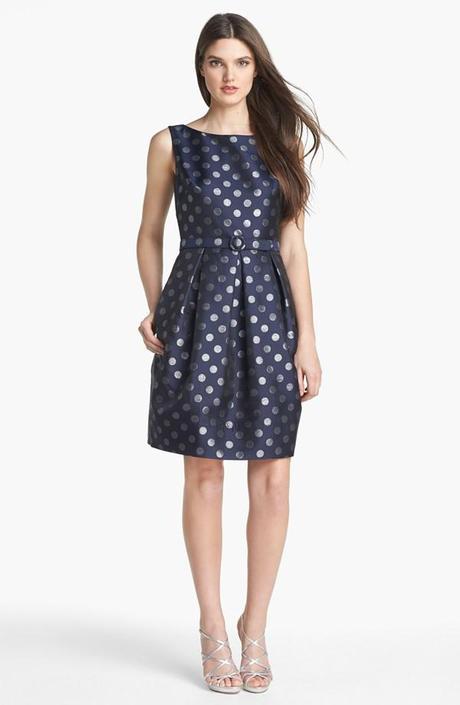 Navy Polka Dot Bridesmaid Dress by Eliza J
