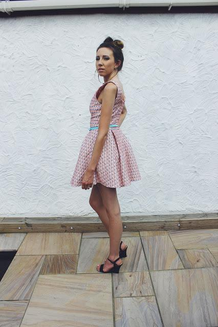 summer, dress, little, mistress, colour, cute, pretty, wedding, guest, outfit, style, fashion, hair bow, messy, bun, hairstyle