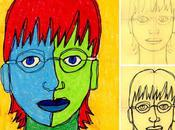 Self Portrait Line Drawing Pastels