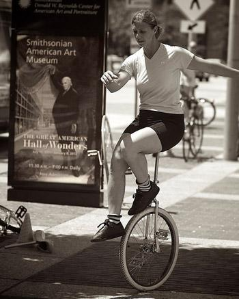 Woman on a unicycle