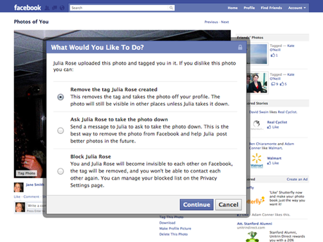 Facebook New Detag Options