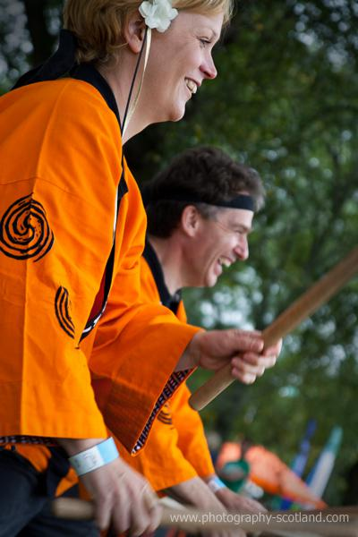 Photo - Taiko drummers at the Mela Festival, Leith Links, Edinburgh, Svotland