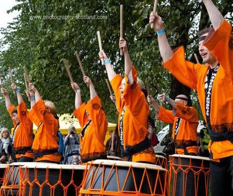 Photo - taiko drummers at the Edinburgh Mela, Scotland