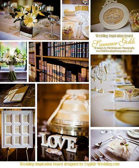 Summer Gold wedding inspiration board with images by Phil Drinkwater
