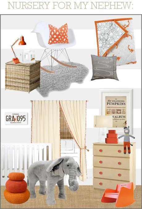 NURSERY FOR MY NEPHEW: Gray/White/Orange