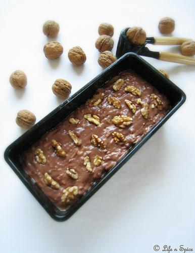Eggless Zucchini-Chocolate Bread with Walnuts - Ready to go into the oven
