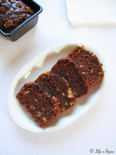 Eggless Zucchini-Chocolate Bread with Walnuts