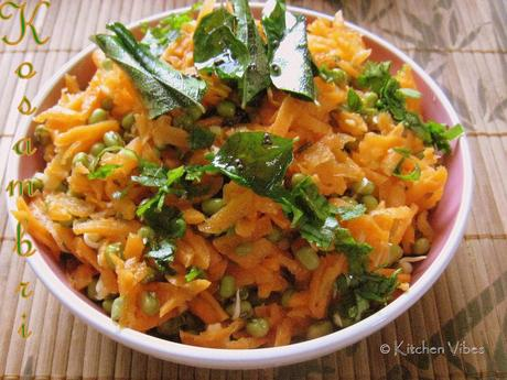 Carrot Kosambri with sprouted green-gram