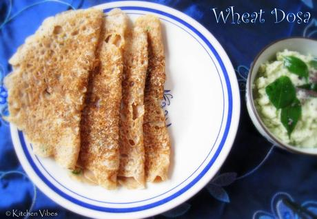 Wheat Dosa (Godhi Dosa) with Coconut Chutney