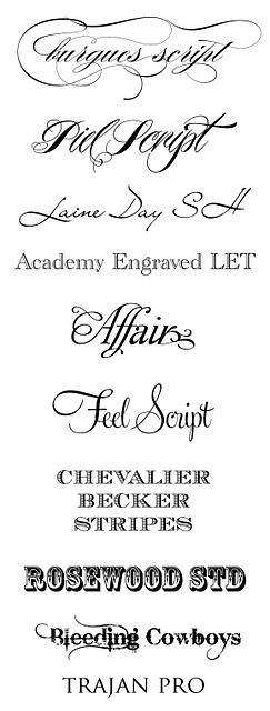 Top Wedding Fonts of 2011