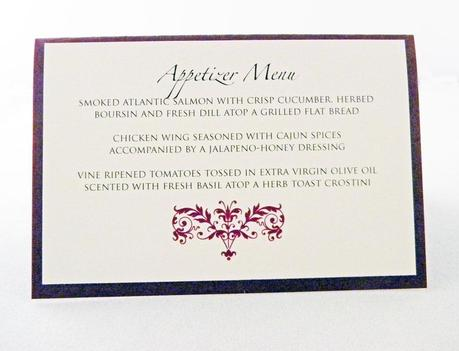 Wedding Menu Card Wording