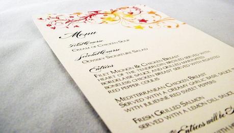 Wedding Menu Card Wording