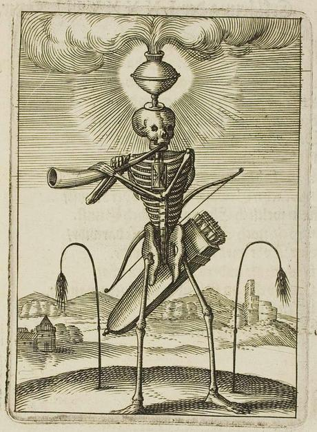 skeleton with quiver blows horn : allegorical symbolism
