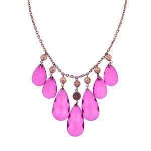 pink briolette bib necklace