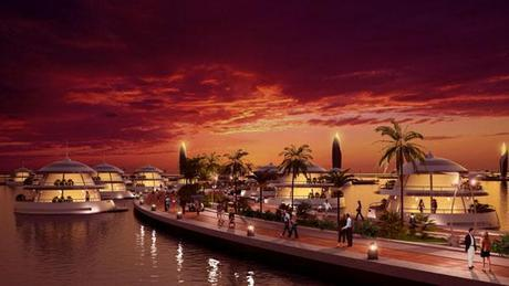 Rendering of the resort at sunset