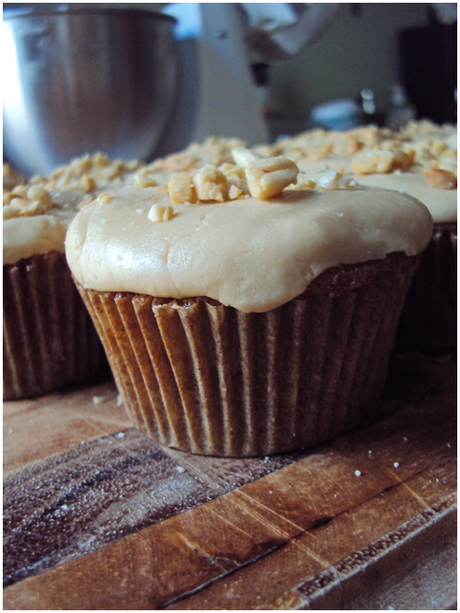 September cupcake: apple cake with caramel frosting